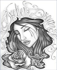 Girls crying   Amazing Tattoo Drawings   Chicano drawings ...