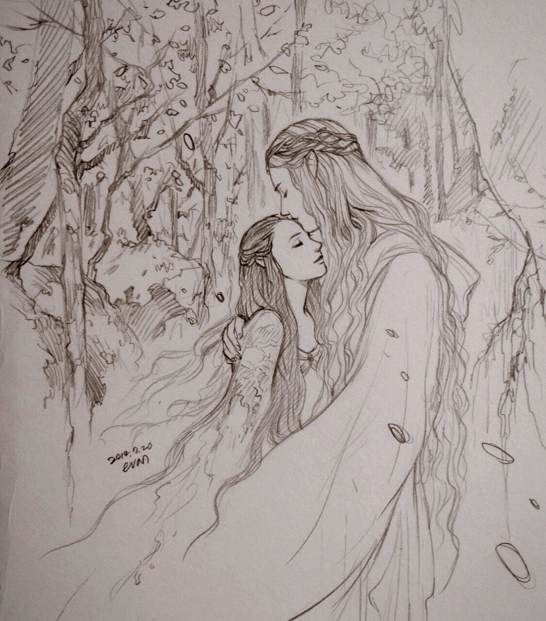 "Galadriel and little Arwen from ""Lord of the Rings"" - Art by evankart.tumblr.com"