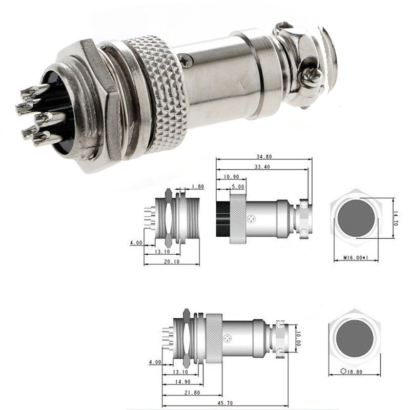 5×New Aviation Plug 4-Pin 16mm GX16-4 Male and Female Panel Metal Connector