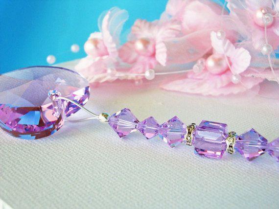 Reserved Listing Swarovski Violet Heart Rear View Mirror