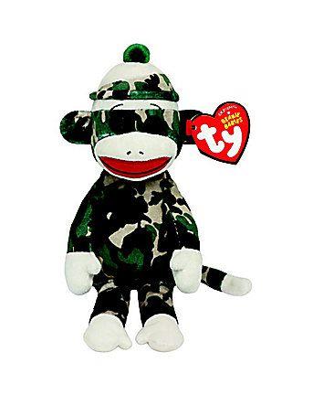 "Camo Sock Monkey 8"" TY Beanie Baby (Each)"