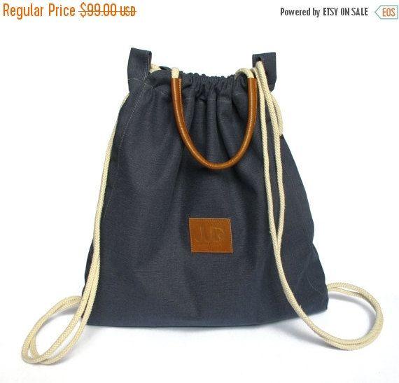 6f2753365f Denim blue backpack purse - multiway back bag - sack bag SALE canvas  rucksack - laptop bag drawstring backpack - sling bag - women backpacks