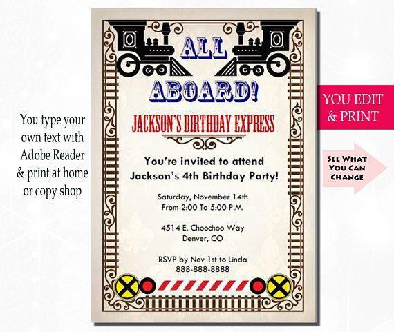 train birthday invitation train party invitation train kid s