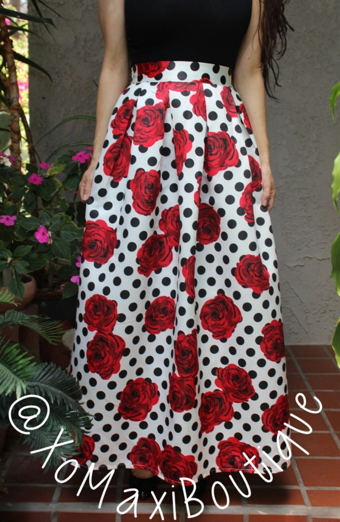 3398d57a8d9 Long Ball Gown Skirt in a Polka Dot and Floral Print with big pleats ...