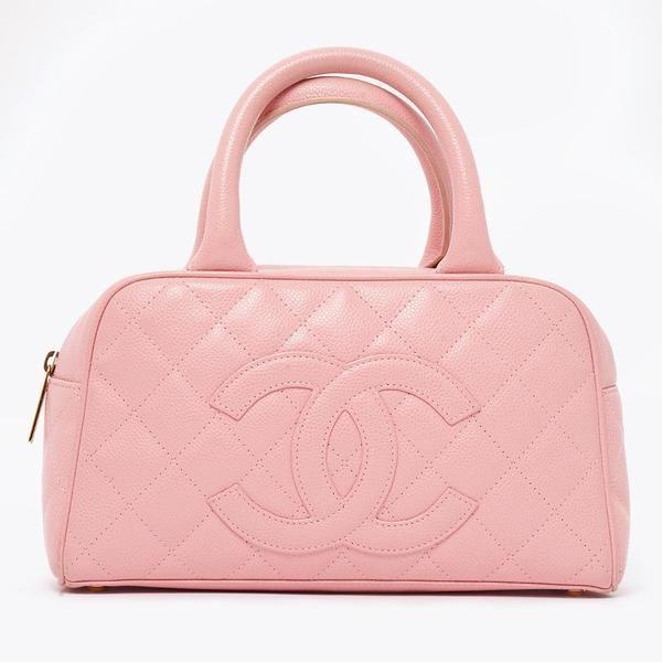 020e389ce Vintage Chanel pink caviar skin bowling bag | Accessories | Vintage ...