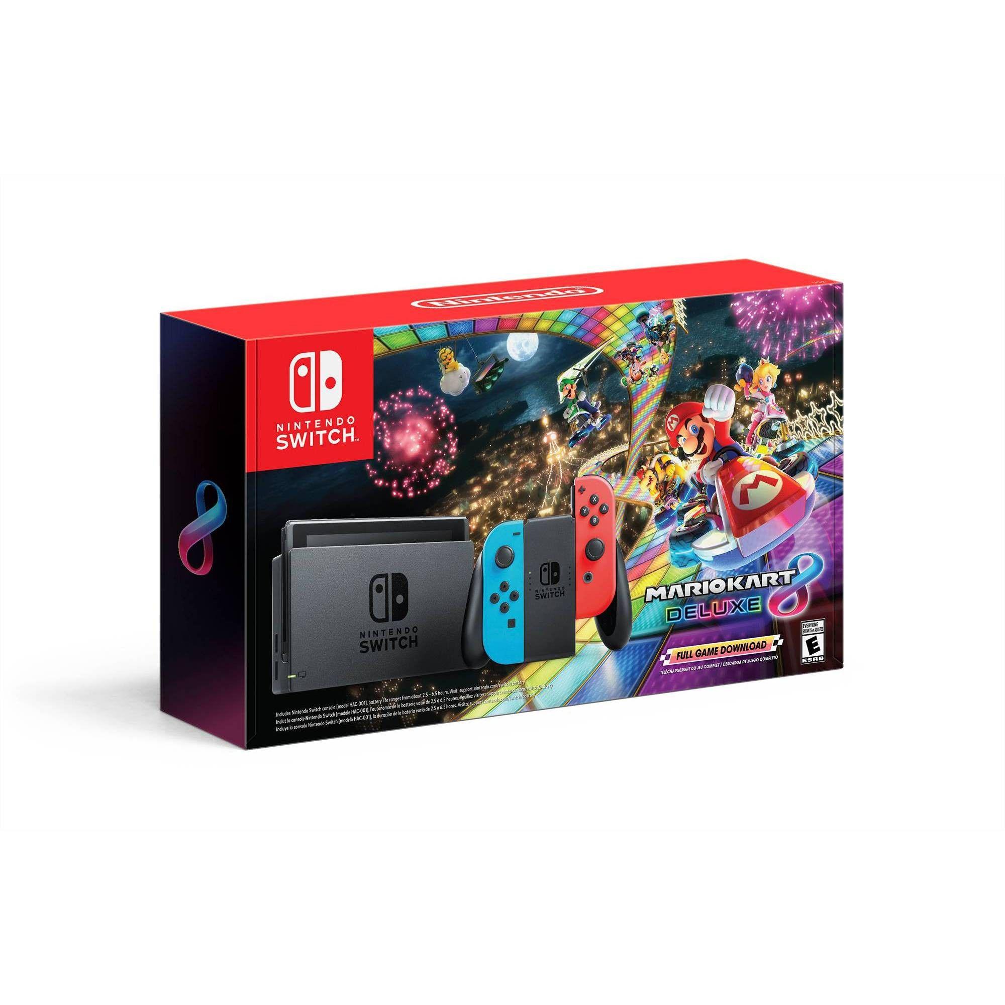Nintendo Switch Mario Kart 8 Deluxe Bundle With Neon Blue And Neon Red Joy Con Nintendo Switch Nintendo Mario Kart