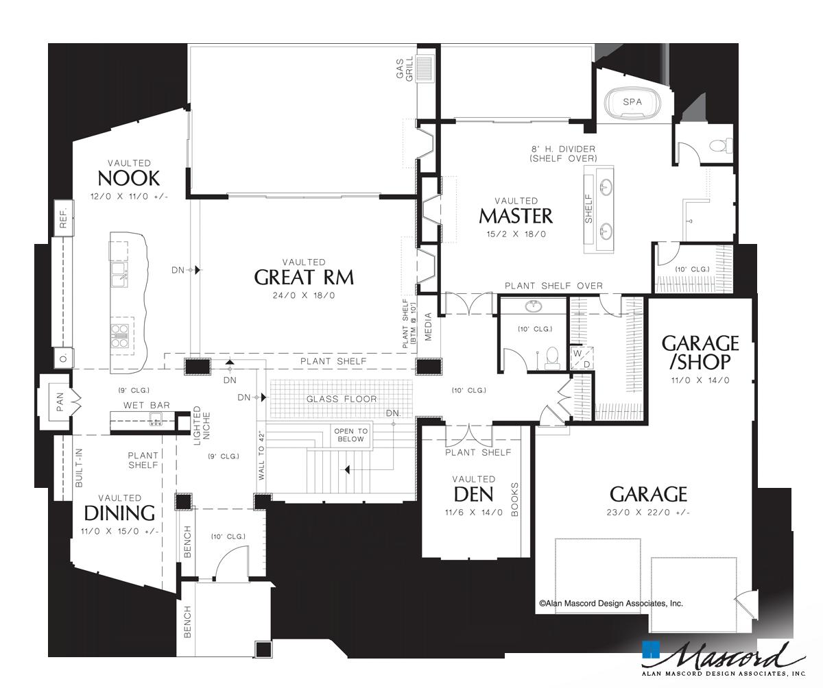 Main Floor Plan of Mascord Plan 1410 - The Norcutt - Contemporary ...