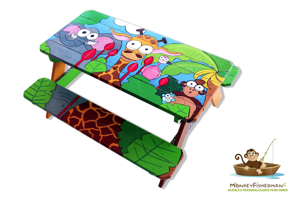 Safari Hand Painted Picnic Table For Kids Monkey