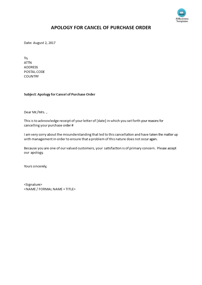 Apology for cancel of purchase order sample letter for apology in apology cancelling purchase order templates at allbusinesstemplates spiritdancerdesigns Choice Image