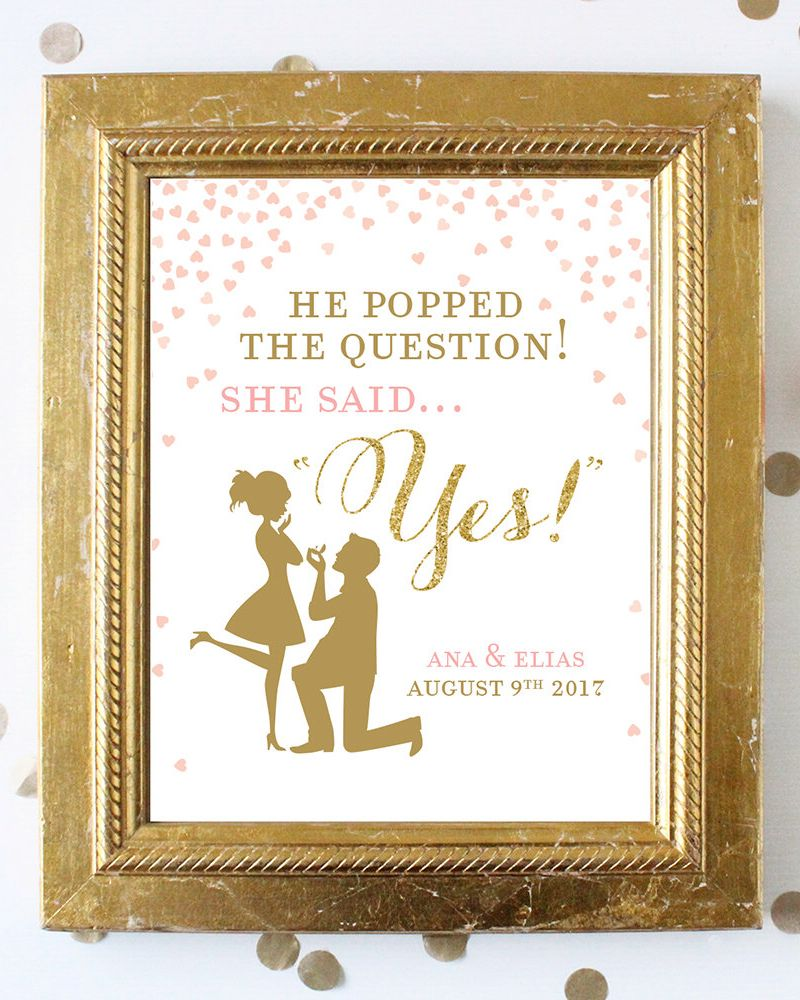 photo about He Popped the Question Printable known as Bridal Shower Signal Printable Obtain . He Popped the