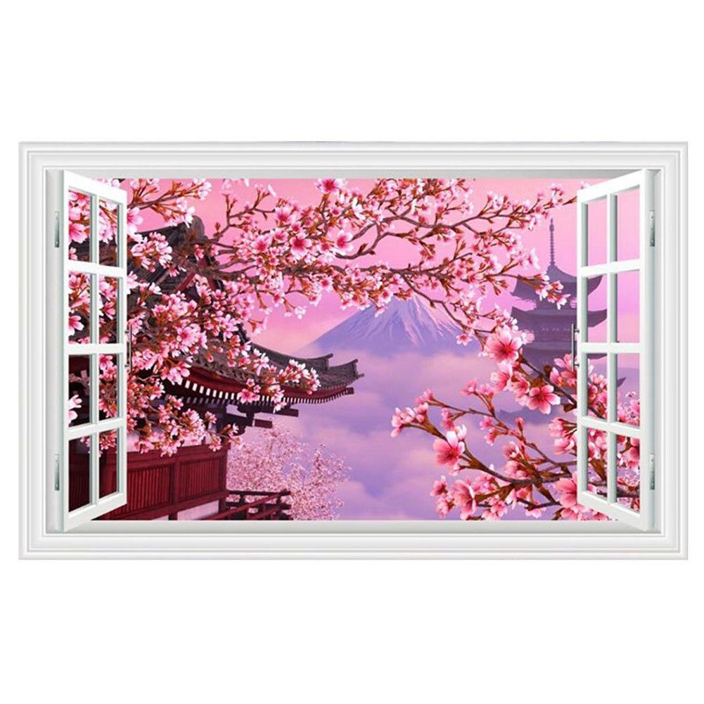 Mount Fuji Cherry Blossoms Fake Windows Wall Stickers Landscape Faux Window Y6c2 Tree Wall Decal Decal Wall Art Unique Wall Decals