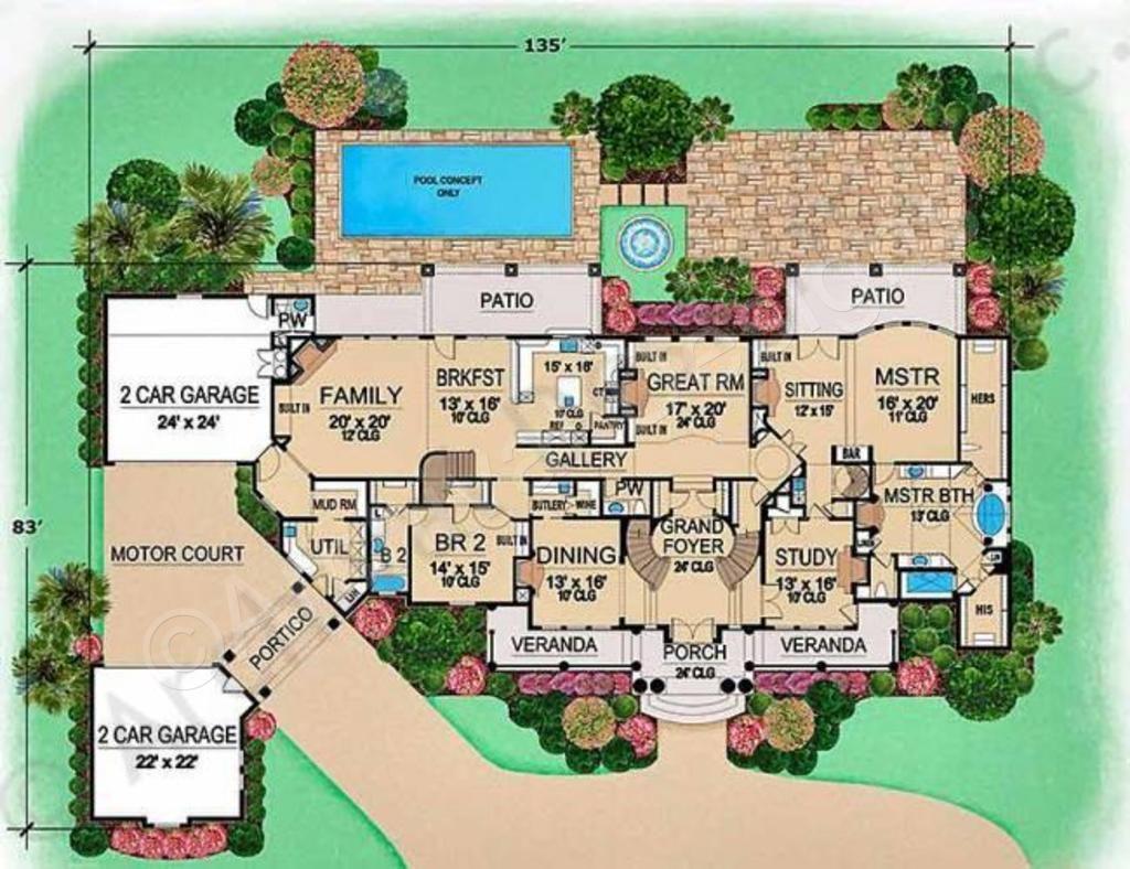 Incroyable Villa Emo House Plan   Grand Staircase Floor   House Plan   First Floor