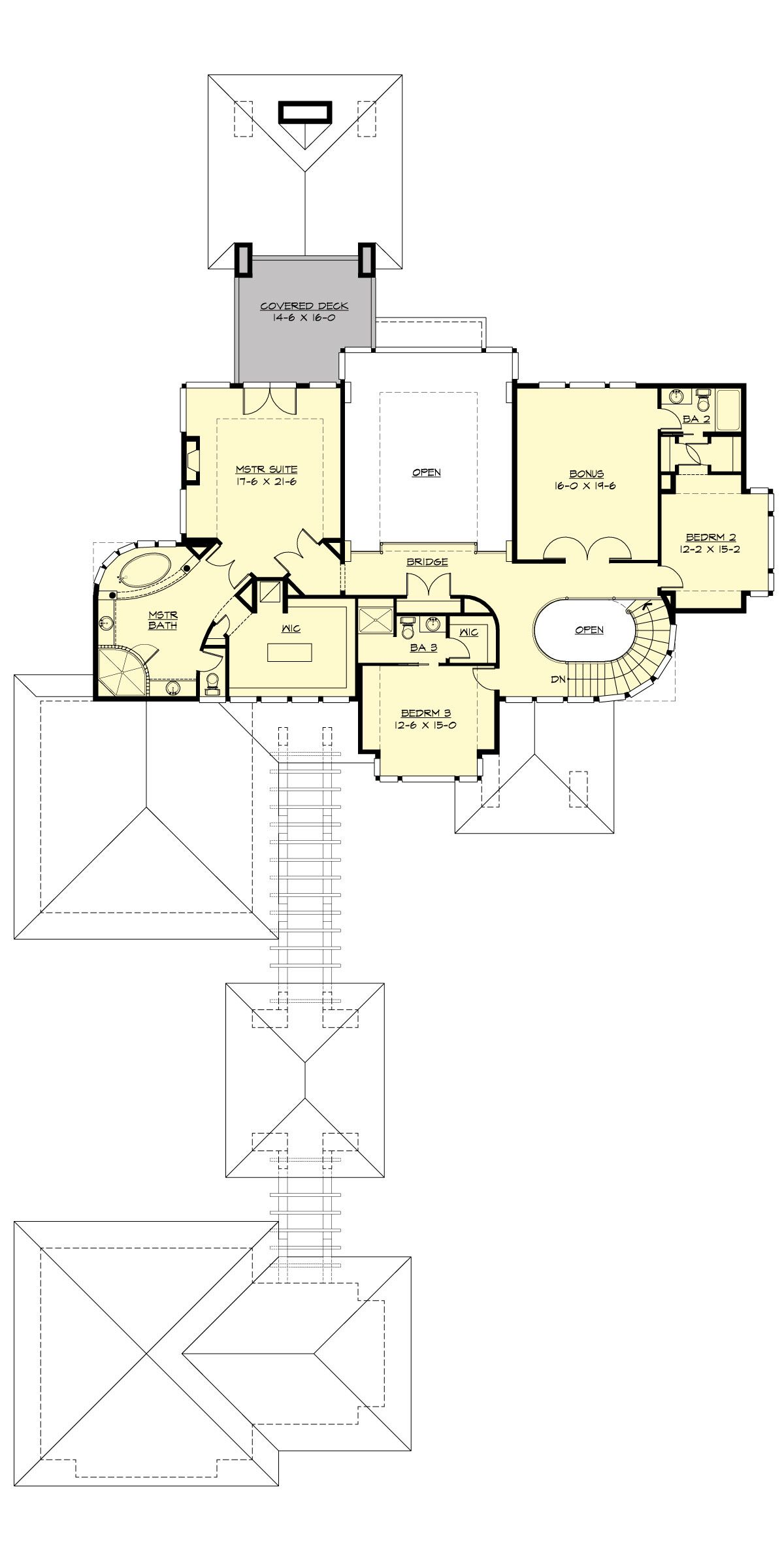 Modern House Plan With 2 2 Car Garages Auto Court And 2 Terrises Modern Style House Plans Prairie Style Houses Modern Floor Plans