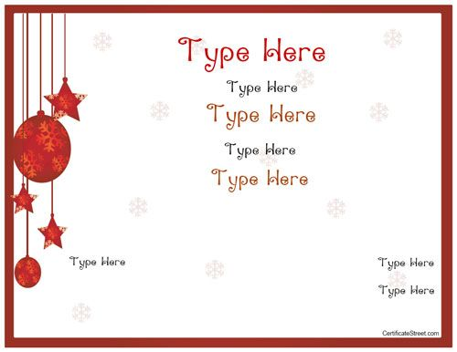 Blank Certificates  Holiday Gift Certificate Template Myawardmaker