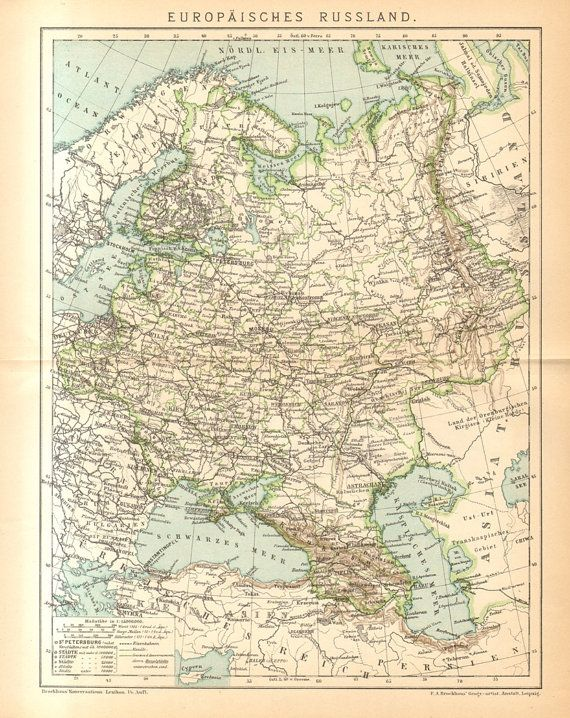 1894 Original Antique Map Showing the European Part of the Russian ...