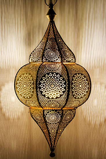 Moroccan Lamp Ceiling Lights Malha 50cm Large Gold E14 Socket Oriental Style Vintage Pendant