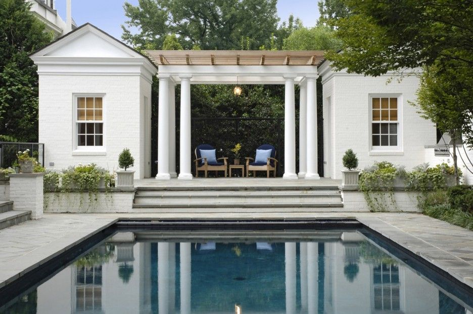 Marvelous Classical Building In White Pool House Designs Ideas Equipped  With Patio And Wooden Pergola Design