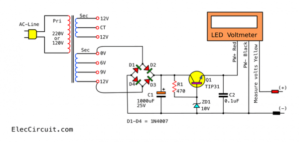My First Variable Power Supply Using Lm317 Eleccircuit Power Supply Power Supply Circuit Power