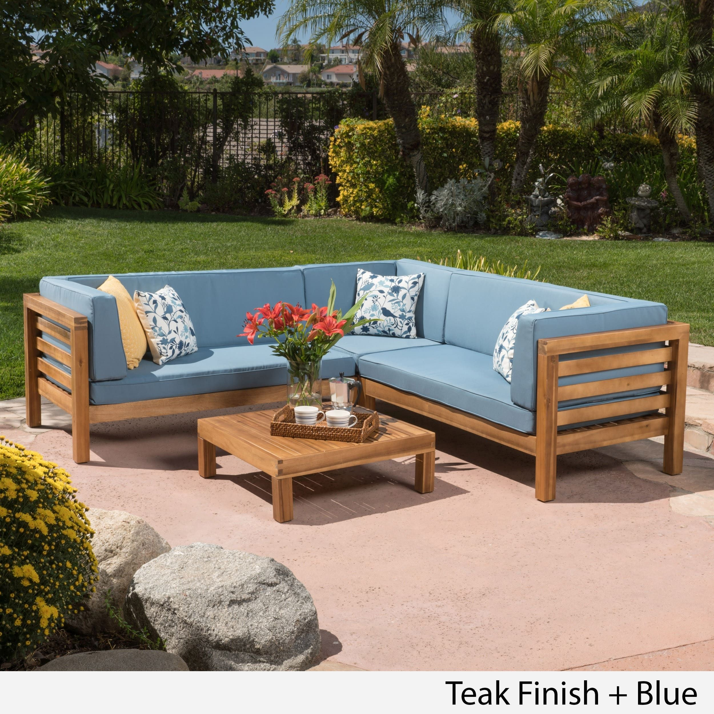 Oana Outdoor 5 Seater V Shaped Acacia Wood Sectional Sofa Set with ...