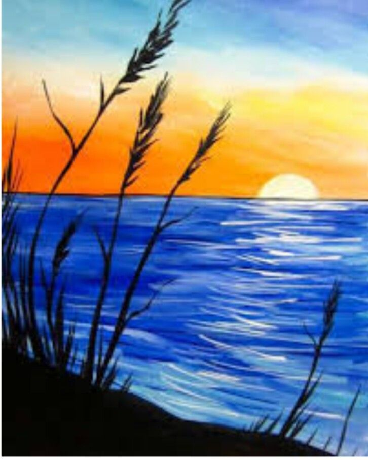 Choppy Blue Ocean Water Sunset And Sea Oats Beginner Painting Idea