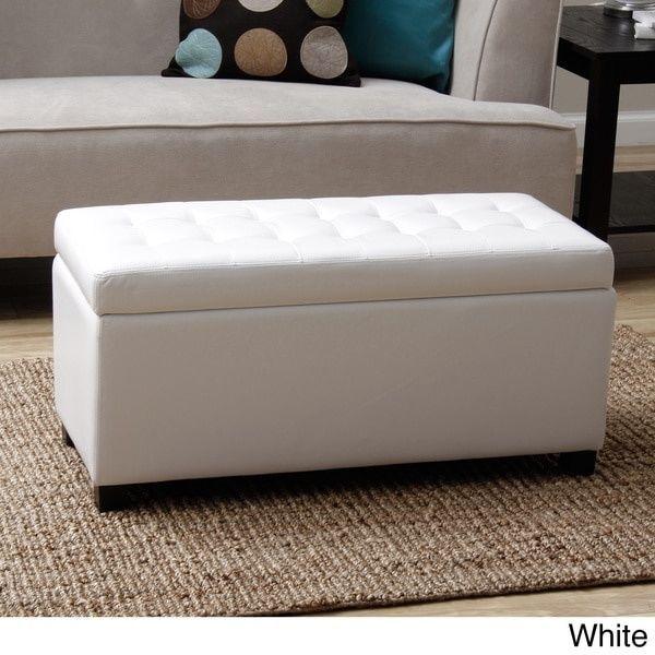 White Malm Storage Bench Ottoman Warehouse Of Tiffany Store Blankets  Pillows New #WarehouseofTiffany #Contemporary