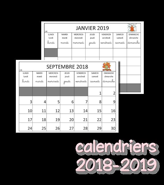 Calendrier 2018 Scolaire 2021 La maternelle de Laurène: Calendriers 2018   2019 | Calendrier