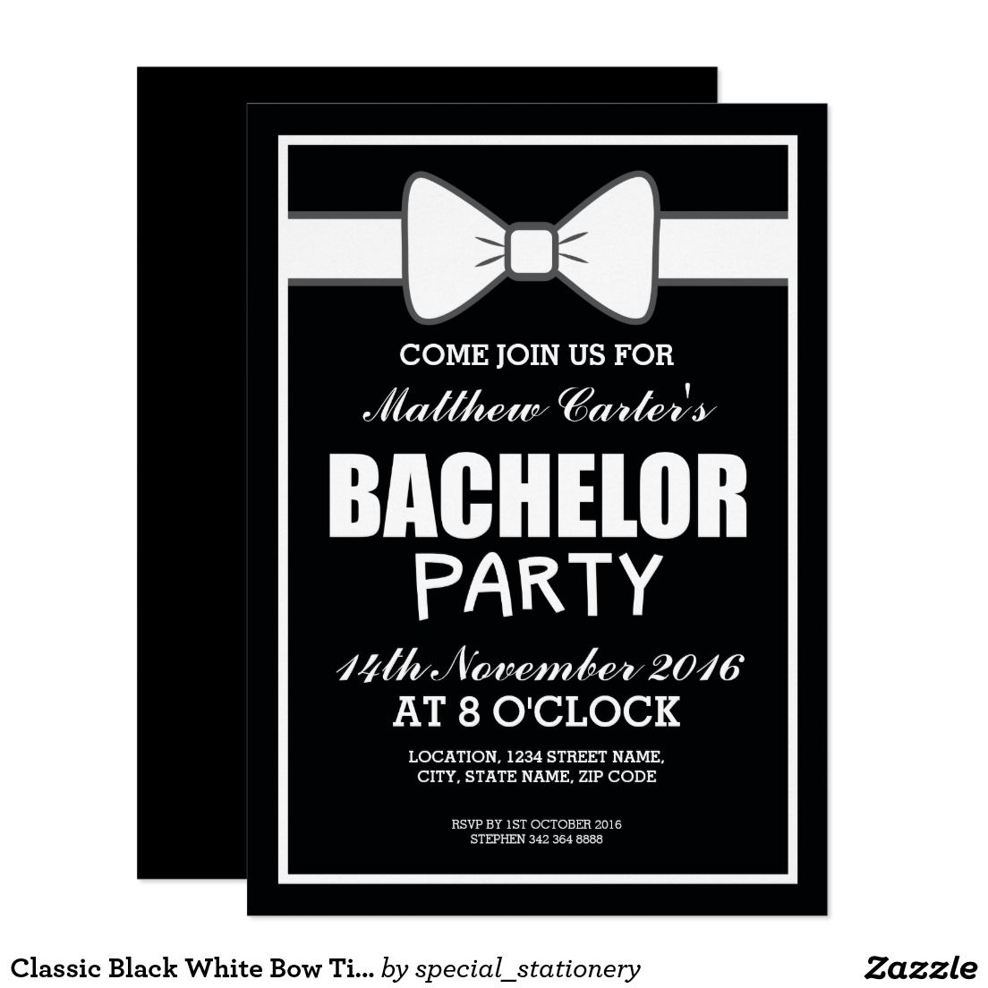 Classic Black White Bow Tie Bachelor Party Card | Bachelor Party ...