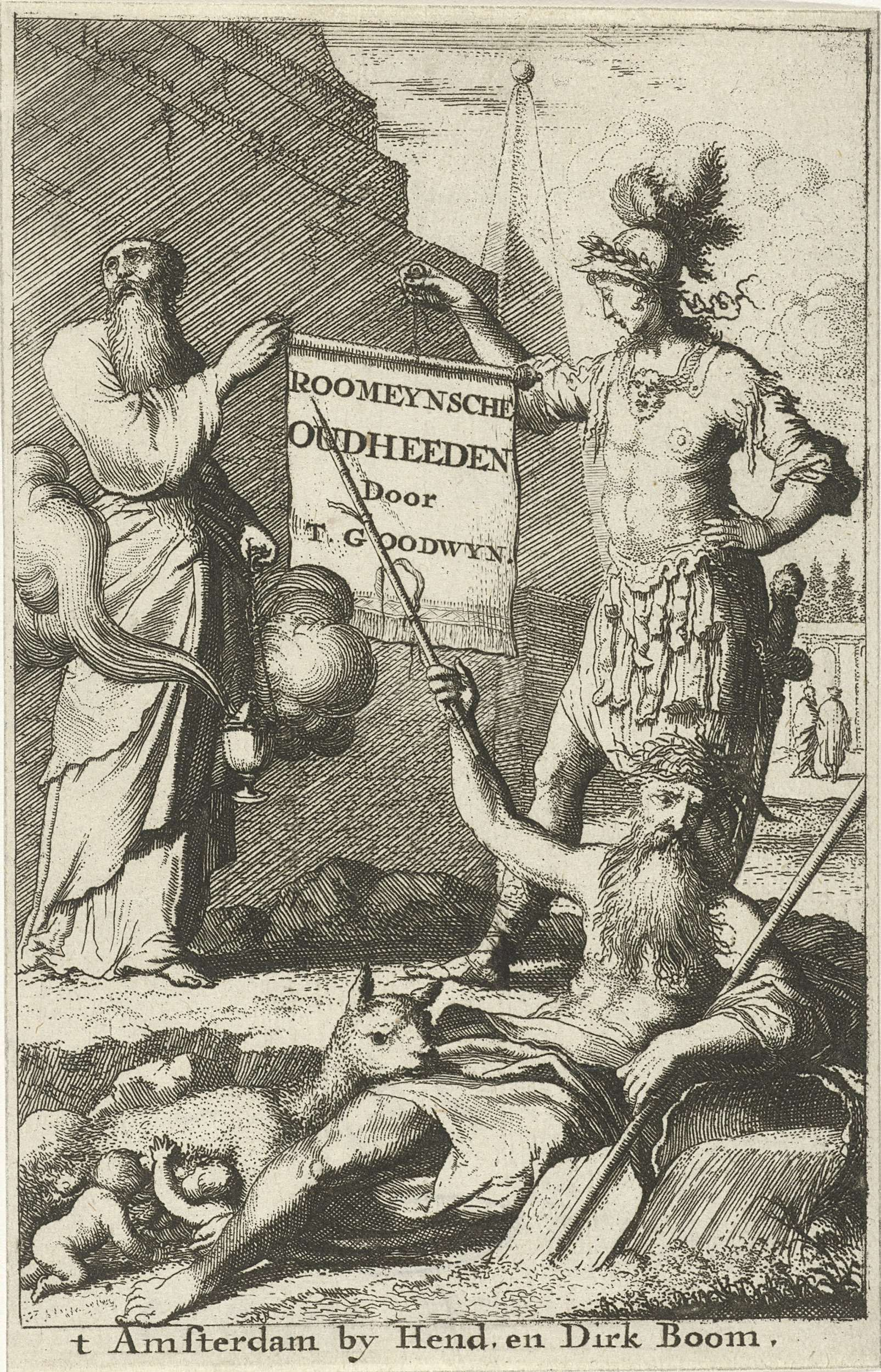 Jan Luyken | Romeinse soldaat en een priester houden samen een geopende rol vast, Jan Luyken, 1679 | Een Romeinse soldaat en een priester houden samen een geopende rol vast met de titel van het boek. Op de voorgrond ligt een riviergod, links zoogt de wolvin Romulus en Remus.