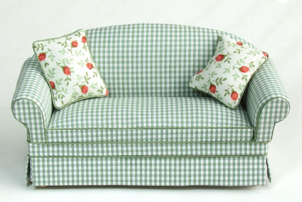 Ashley green checked sofa checked sofa dollhouse decor