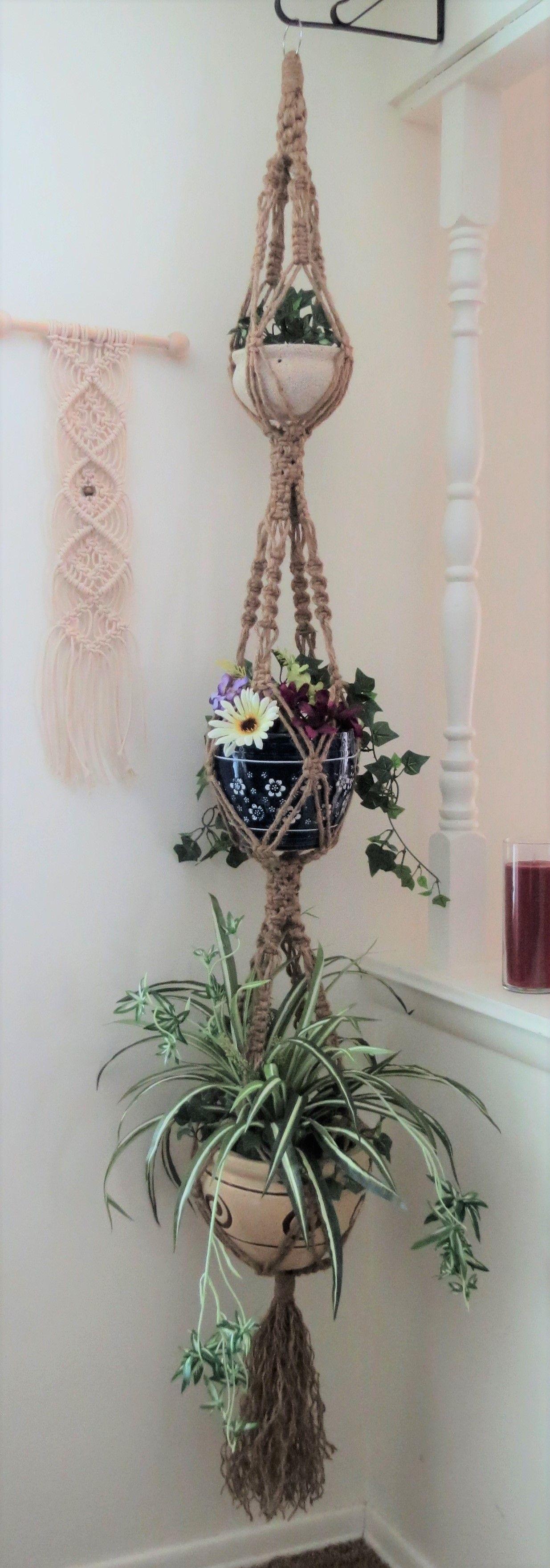 Triple 3 pots jute plant hanger, hippie home decor, hippie wedding, boho decor, jute plant hanger, vintage style natural jute