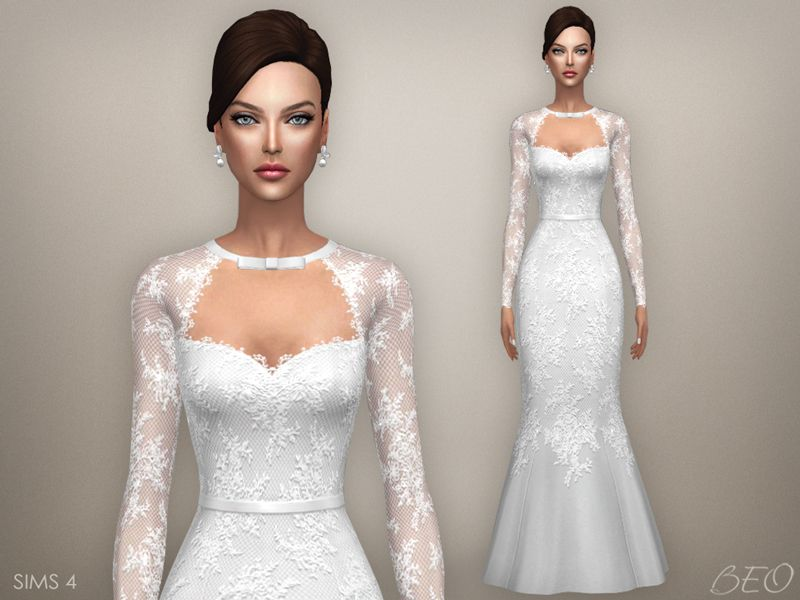 Wedding Dress Tatiana For The Sims 4 By Beo Sims 4 Wedding Dress Sims 4 Dresses Wedding Dresses