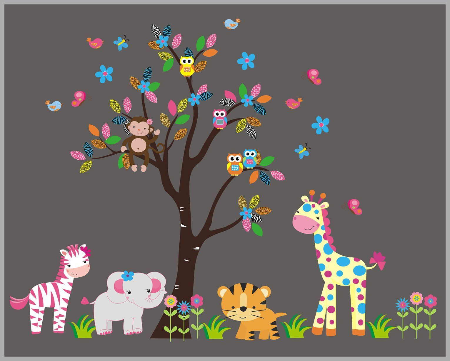 Fun Color Wall Decals Cute Animal Wall Stickers Peel And Stick Nursery Decals Nature Wall Art Zoo Animal Wall Mural 85 X 105 Baby Wall Decals Animal Wall Decals Elephant Decal