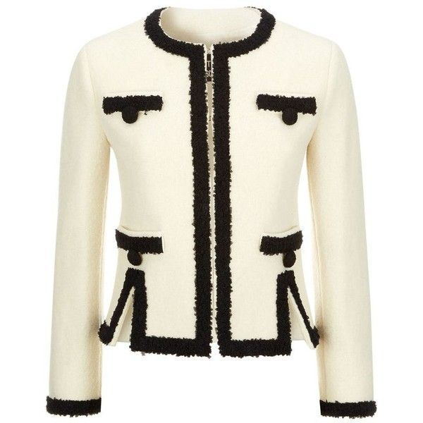 Boutique Moschino Contrast Trim Jacket (1,740 BAM) ❤ liked on Polyvore featuring outerwear, jackets, short jacket, short white jacket en white jacket