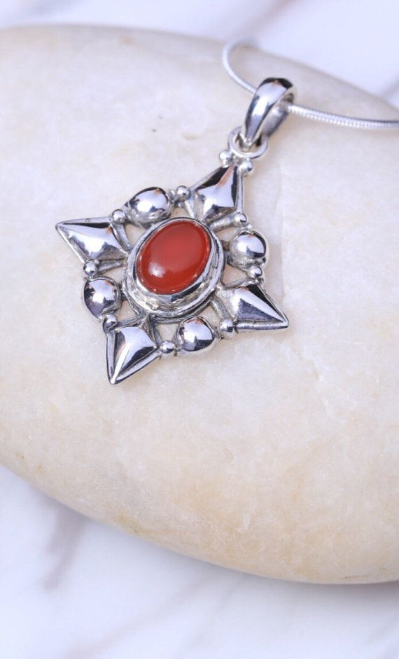 Silver And Carnelian Charm Sterling Silver Chain Neck Charm Silver Necklace Boho Jewelry Victorian Jewelry P99 Silver Sterling Silver Chains Victorian Jewelry