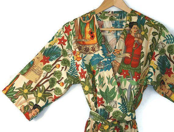 ca8081248f Plus Size Kimono Robe. Plus Size Dressing Gown. Plus Size Beach Cover Up.  Spa Robe Frida Kahlo.