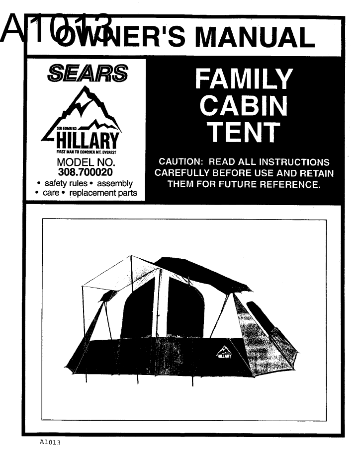 Image result for sears hillary tent model 308.700020 manual  sc 1 st  Pinterest & Image result for sears hillary tent model 308.700020 manual | tent ...