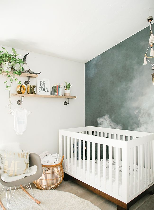 We Have A Treat For You On Our Baby Blog Erica Founder Of 10 11 Makeup And Mom 3 Beautiful Boys Is Sharing Her S Modern Smoke Mural Nursery
