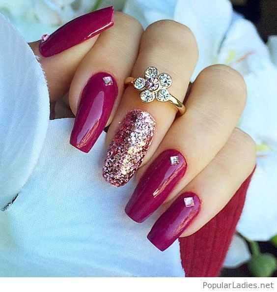 Long berry coffin nalis with glitter nailart pinterest this is a very nice trendy nail arts design in nude or pastel colors with rhinestone or diamond or glitters it gives sophisticated and luxurious looks in prinsesfo Images