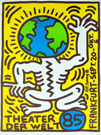 "Poster by Keith Haring (1958-1990), 1985,  ""Theater der welt"" (Theater of the world)."