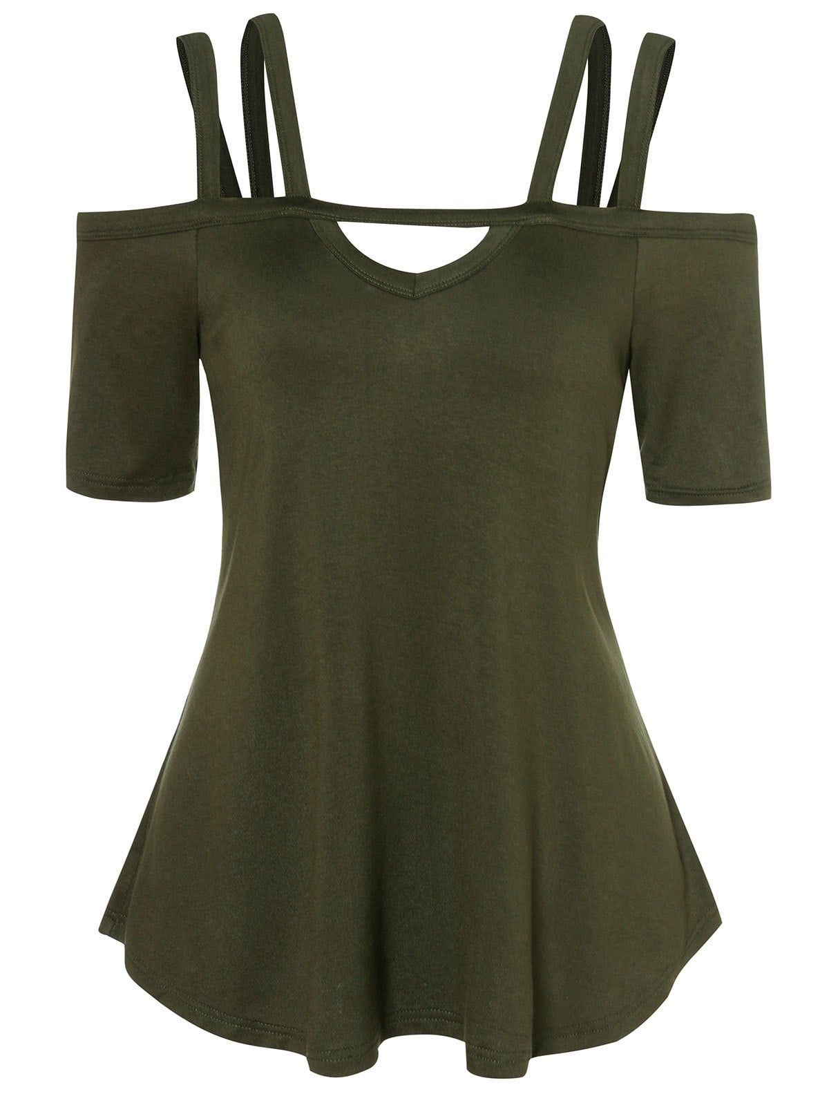 519bceafe9b16 Cold Shoulder Strappy Tunic T Shirt Use Code RGBF1 Get 25% OFF Discount!