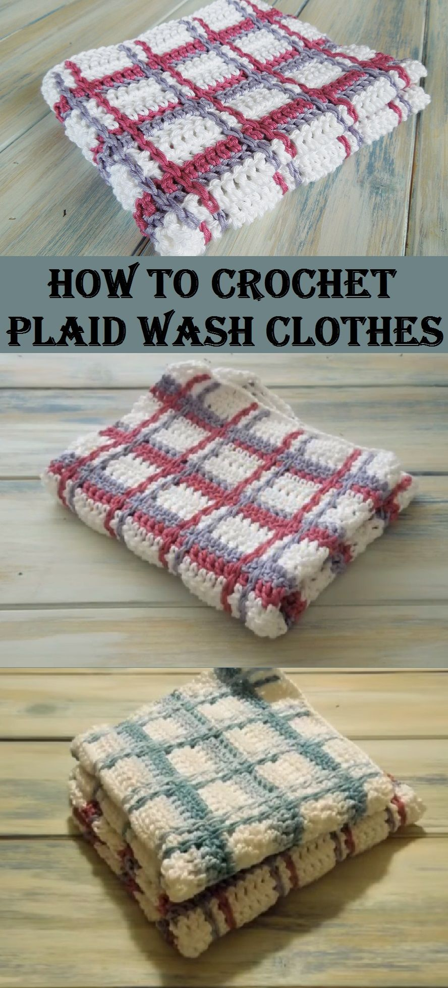 Crochet Plaid Wash Clothes | Handarb, Spültücher, Waschlappen ...