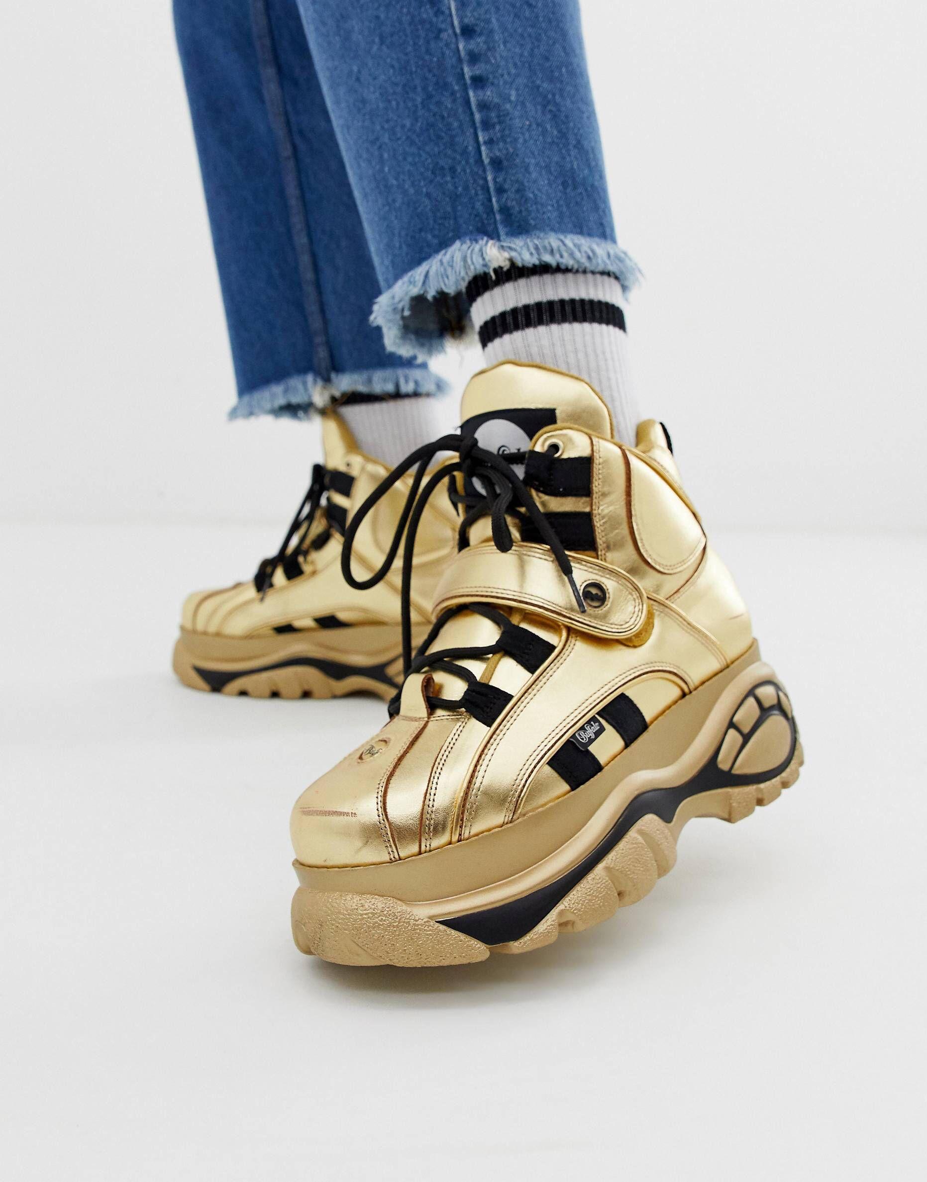 info for b0e36 b061d Buffalo Classic hi top chunky sole sneakers in gold | SHOE ...