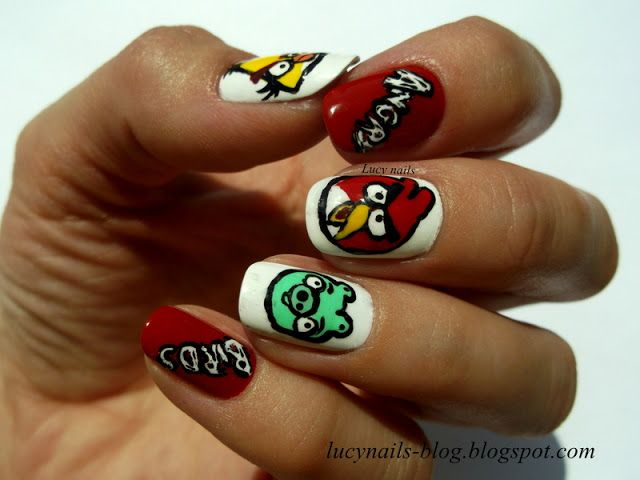 Fancy Angry Birds Nail Art Composition - Nail Art Design Ideas ...