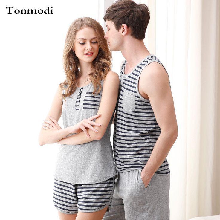 a8f470b741 Pajamas for Women Summer Love Men Vest Pyjamas 100% Cotton Stripe Pajama  Sets Couples Matching Pajamas