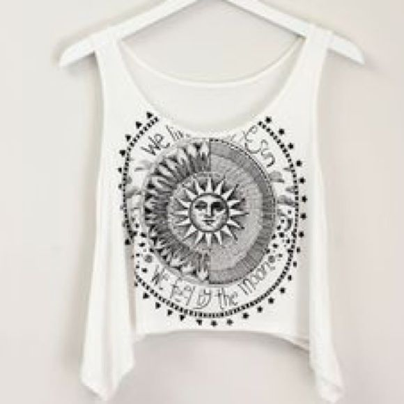 """""""We live by the sun, We feel by the moon"""" top Super stylish white top. Never Worn!!! With tag.❗️ Love Story Tops"""