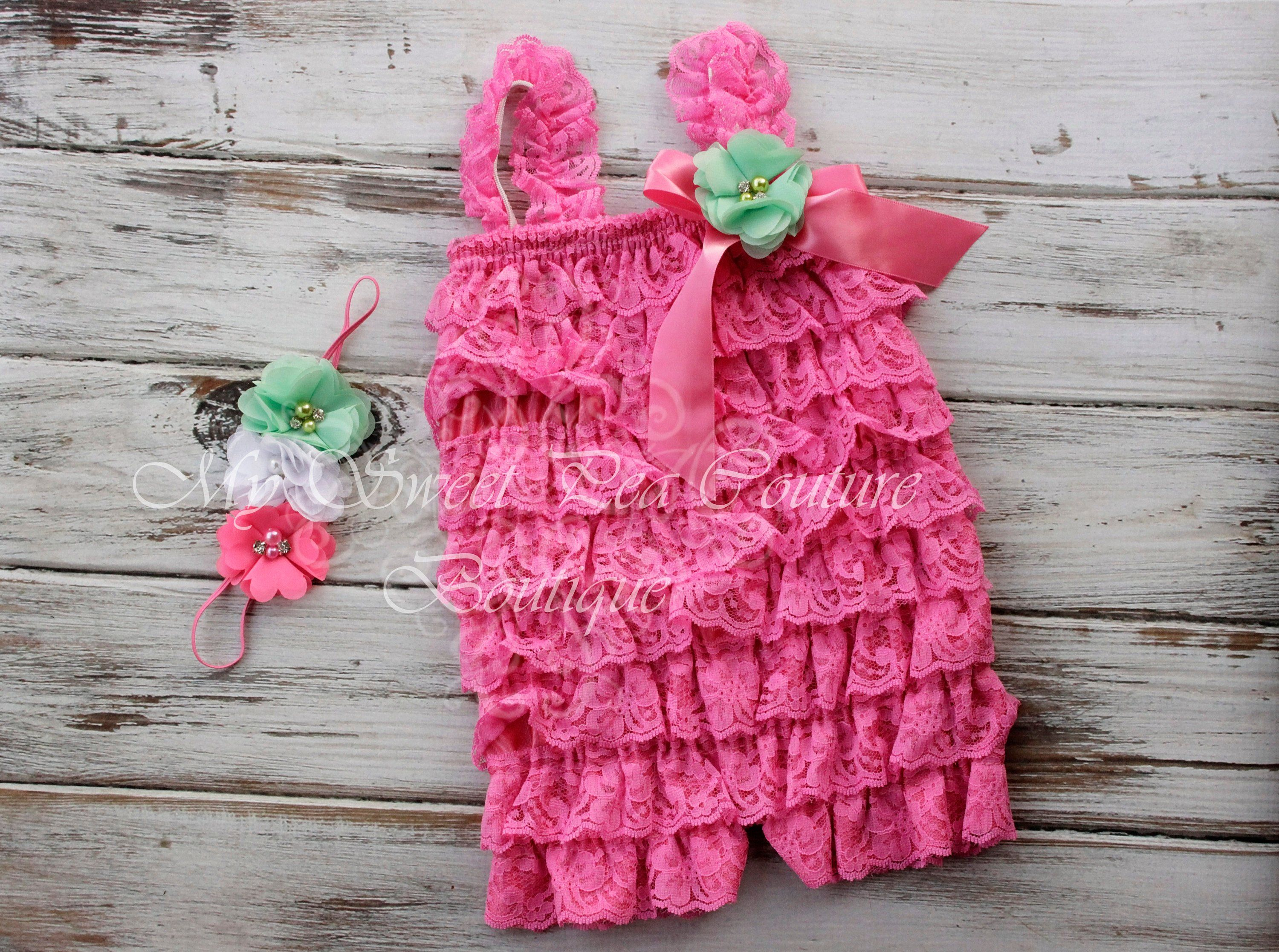 becb67e07b7 Watermelon Embelished Lace Romper   Headband Set- First Birthday Outfit-  Petti Romper- Cake Smash Outfit- Newborn Petti Romper- Headband by ...