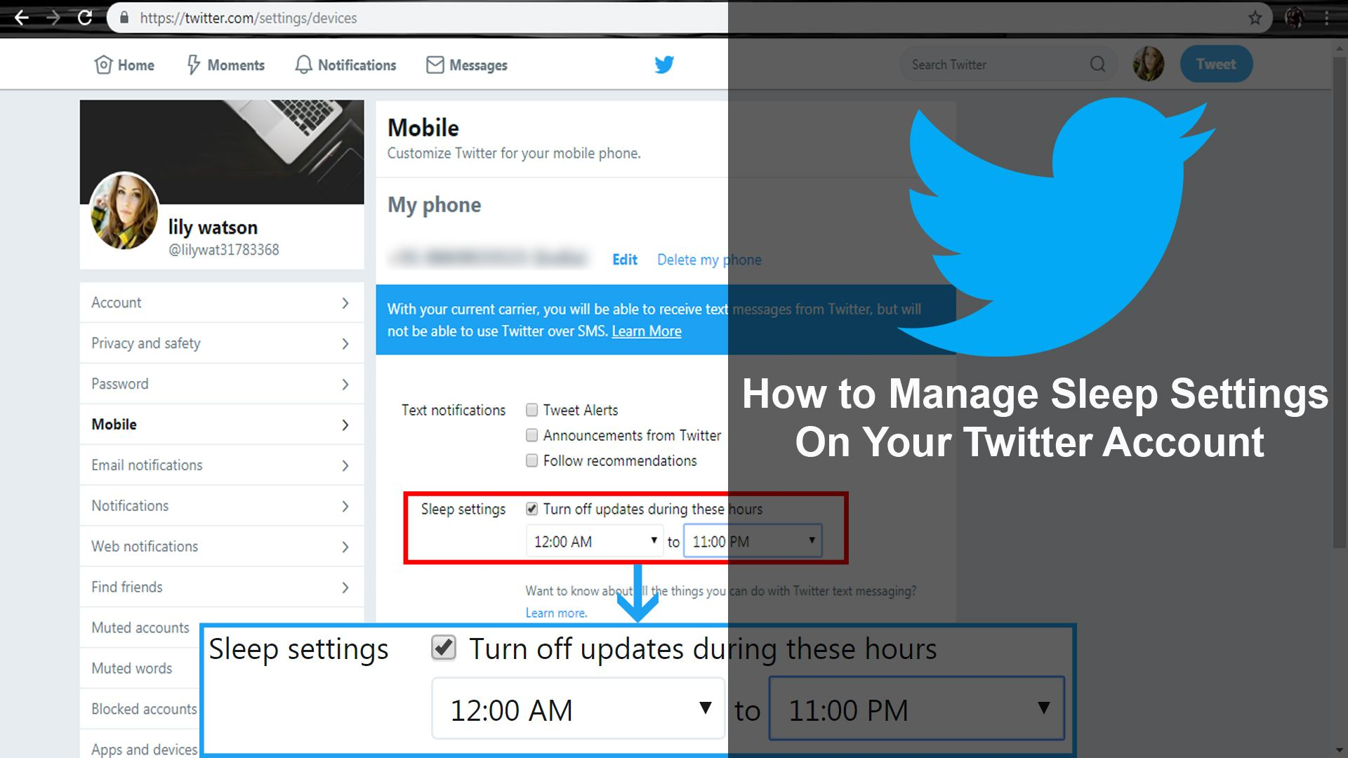 How To Manage Sleep Settings On Your Twitter Account Accounting Twitter Save Changes
