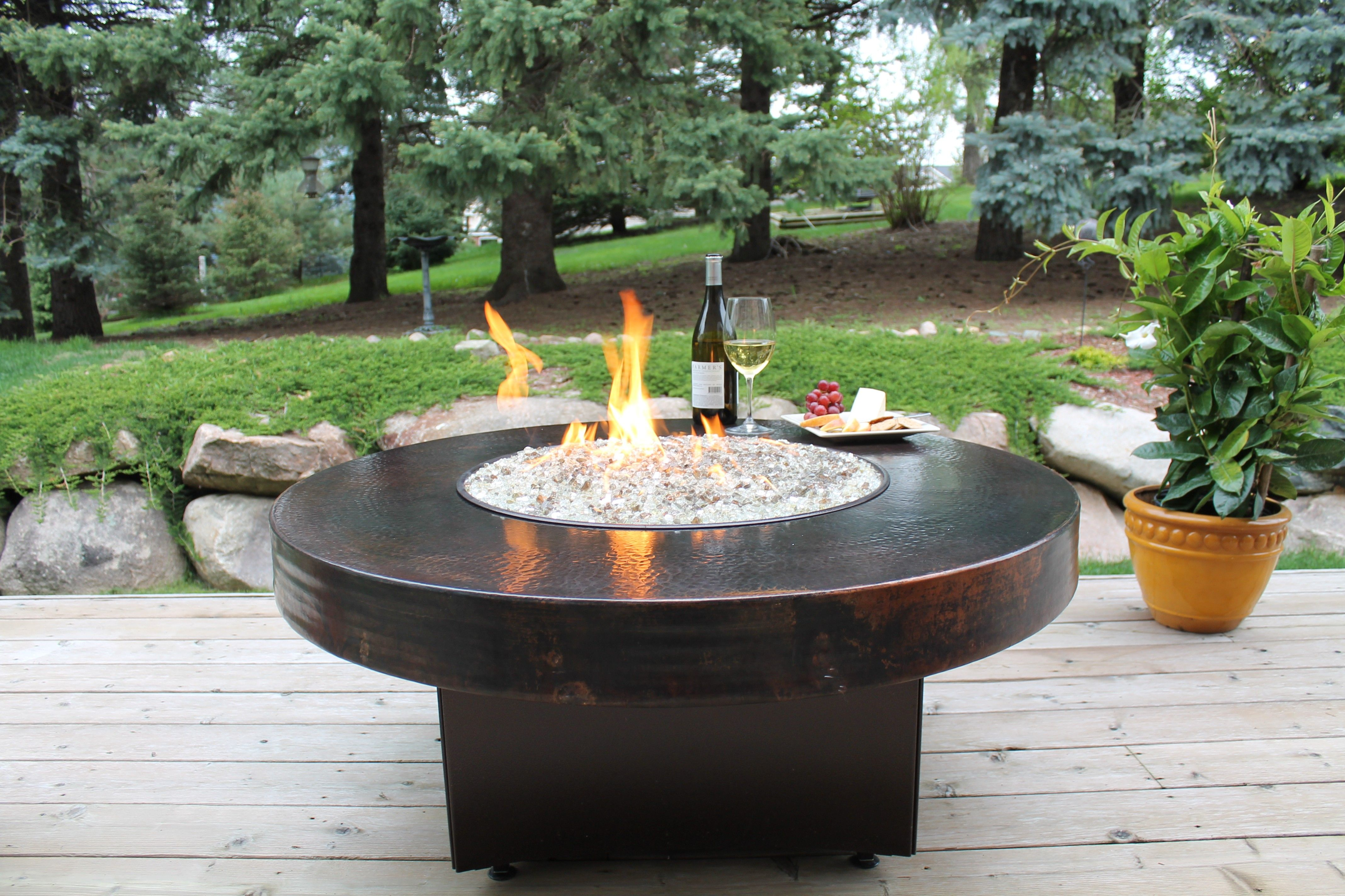 Oriflamme Round Hammered Copper Fire Pit Table Fire Pit Table Gas Firepit Fire Pit