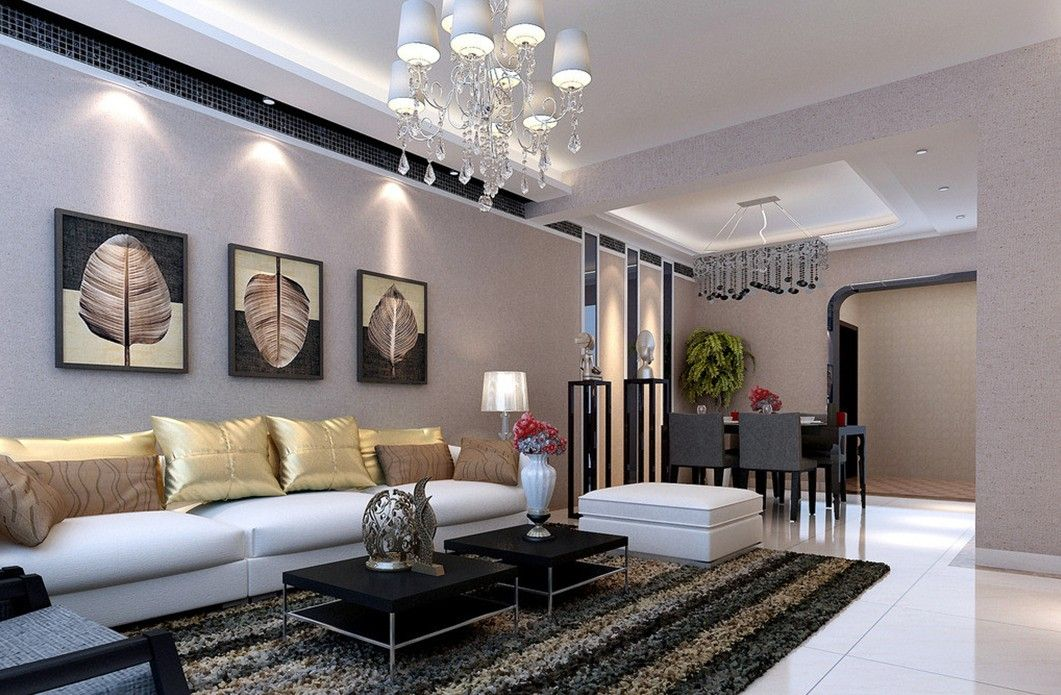 Living With Dining Room Design Ideas Part - 19: Gray Living Dining Room Interior Design By Pastoral Style