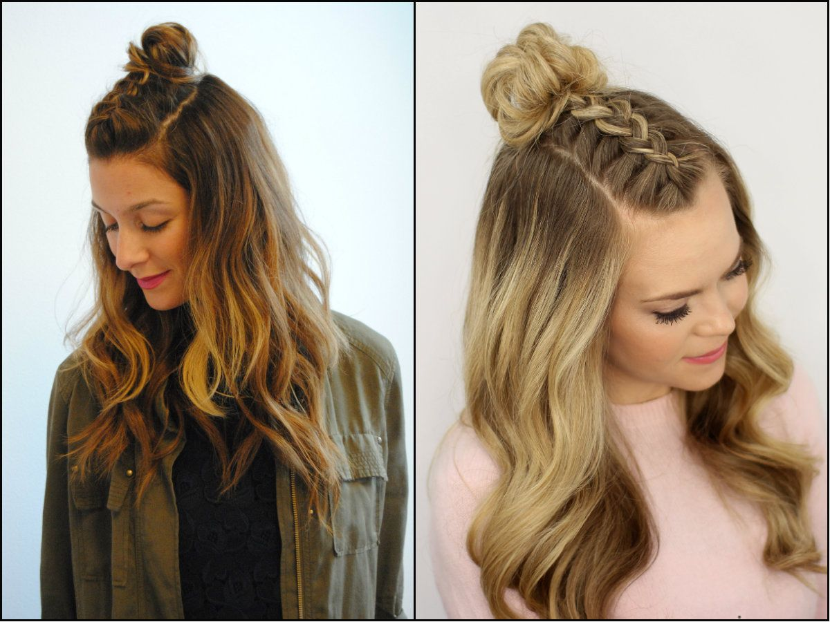 Half Down The Middle Braided Top Knots